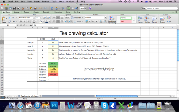 Tea brewing calculator made in Excel for Mac 2011