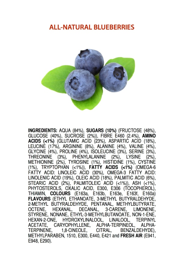 Ingredients of All-Natural Blueberries POSTER