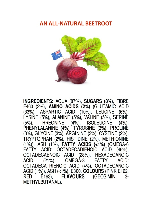 ingredients of an AUSTRALIAN BEETROOT