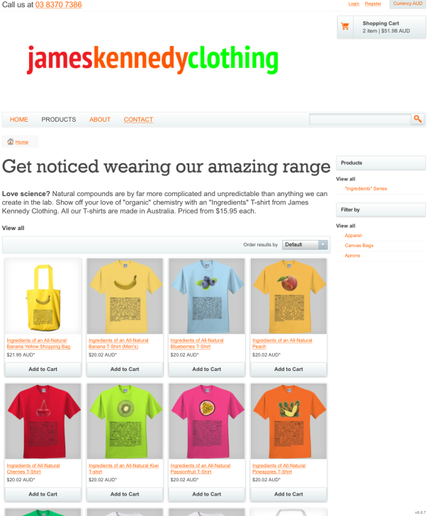 James Kennedy Clothing T-Shirt Store