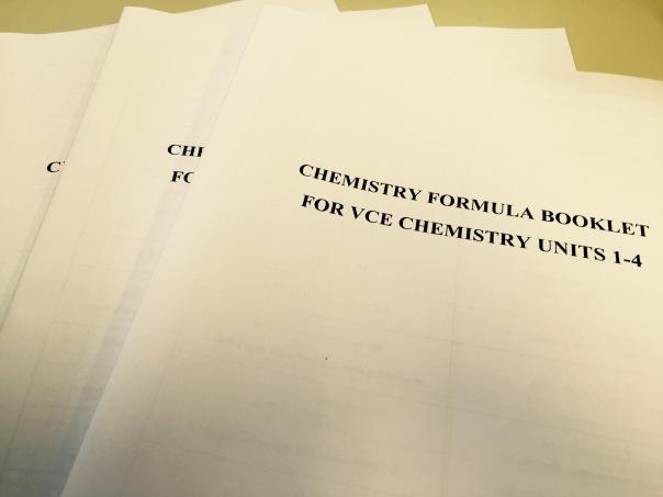 VCE Chemistry Formula Booklet FRONT