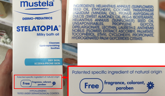 Mustela's milky bath oil claims to be 'natural' but contains mostly artificial ingredients