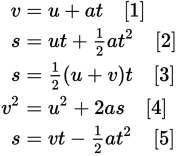 Traditional set of five SUVAT equations